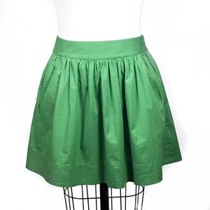 BANANA REPUBLIC Petite Green Circle Skirt Pockets